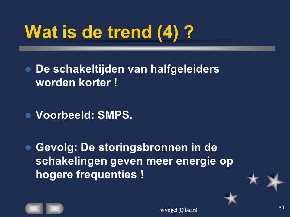 wvogel @ iae.nl 31 Wat is de trend (4) ?  De schakeltijden van halfgeleiders worden korter !  Voorbeeld: SMPS.  Gevolg: De storingsbronnen in de sc