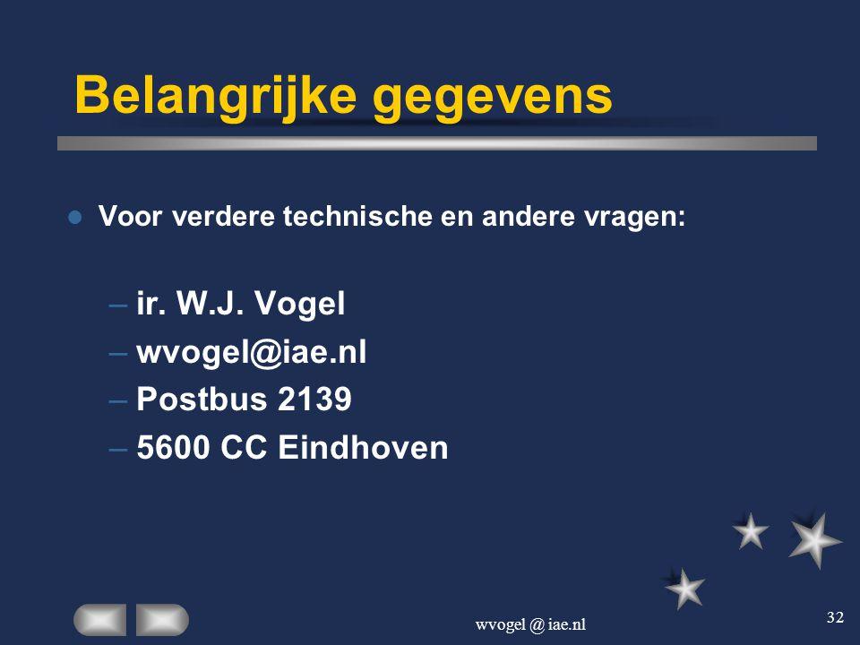 wvogel @ iae.nl 32 Belangrijke gegevens  Voor verdere technische en andere vragen: –ir. W.J. Vogel –wvogel@iae.nl –Postbus 2139 –5600 CC Eindhoven