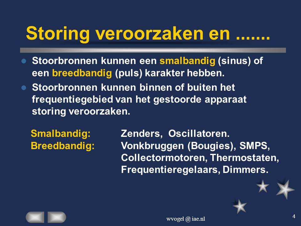 wvogel @ iae.nl 4 Storing veroorzaken en.......  Stoorbronnen kunnen een smalbandig (sinus) of een breedbandig (puls) karakter hebben.  Stoorbronnen