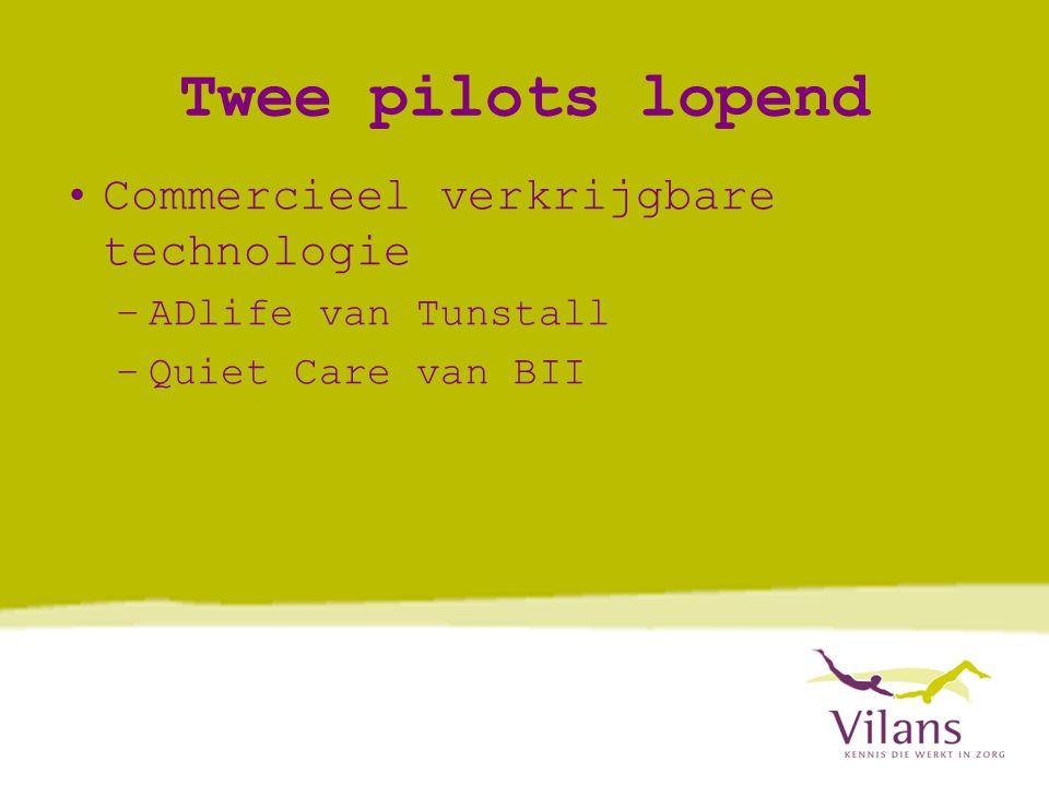 Twee pilots lopend •Commercieel verkrijgbare technologie –ADlife van Tunstall –Quiet Care van BII