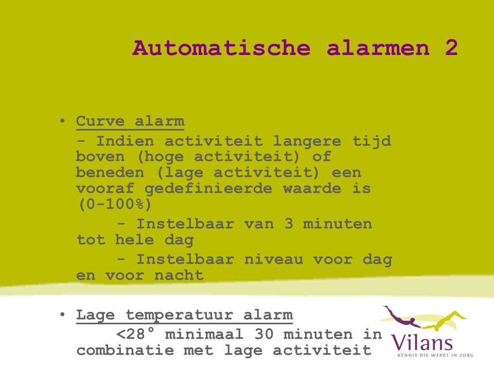 Automatische alarmen 2 •Curve alarm - Indien activiteit langere tijd boven (hoge activiteit) of beneden (lage activiteit) een vooraf gedefinieerde waarde is (0-100%) - Instelbaar van 3 minuten tot hele dag - Instelbaar niveau voor dag en voor nacht •Lage temperatuur alarm <28° minimaal 30 minuten in combinatie met lage activiteit