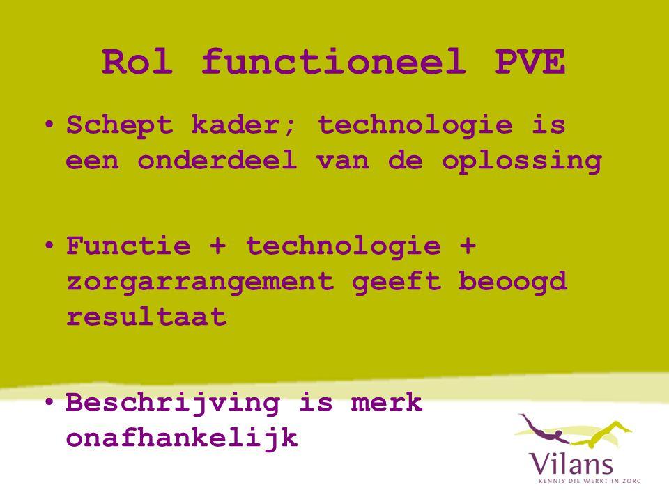 Rol functioneel PVE •Schept kader; technologie is een onderdeel van de oplossing •Functie + technologie + zorgarrangement geeft beoogd resultaat •Beschrijving is merk onafhankelijk