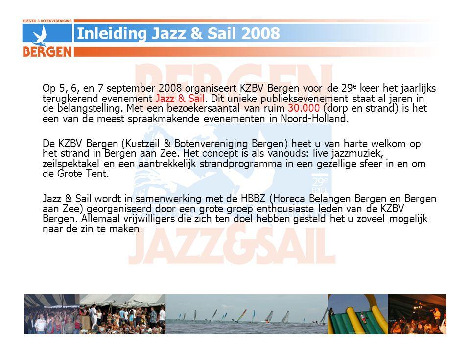 Secretariaat Sponsoring Jazz & Sail 2008 KZBV Bergen NH Mieke Scholten Bergerweg 123 1862 PR Bergen NH scholten.mieke@gmail.com 072-5812601 Sponsoring / PR / Communicatie Martijn Grosmann Baron Mulertlaan 8 1862 DL Bergen NH martijn@prospectum.nl 06-51949507 Contact Jazz & Sail 2008