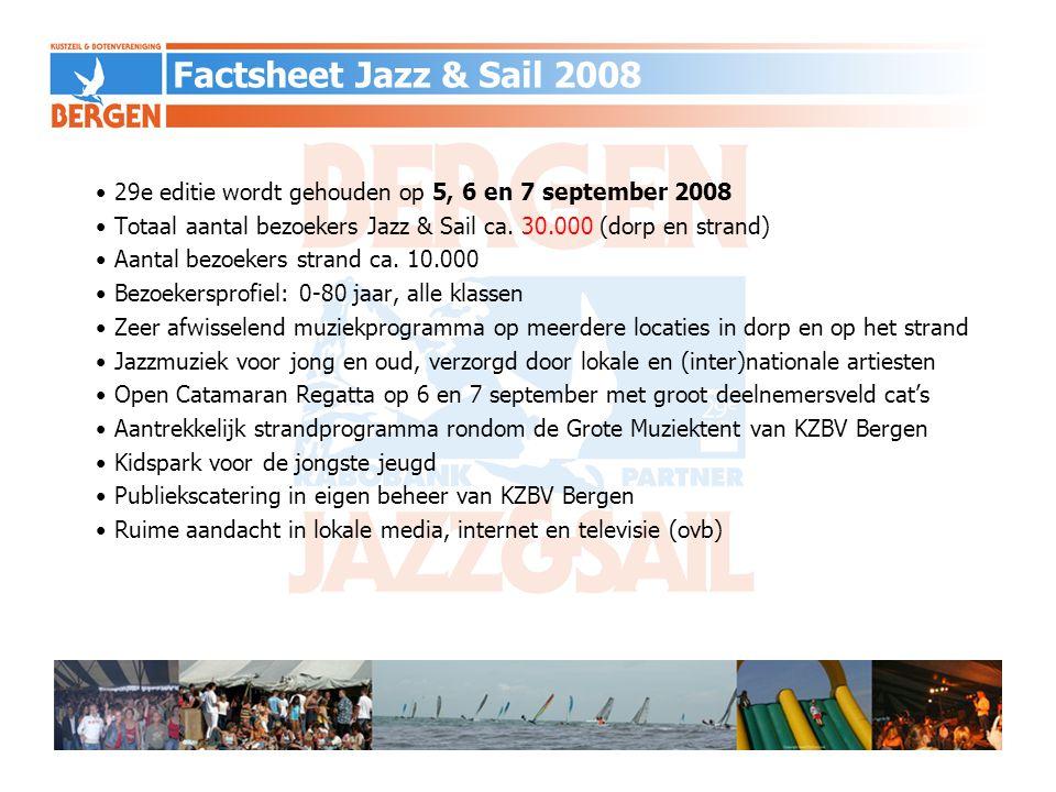 Jazz in de Grote Tent Open Catamaran RegattaZaterdag 6 september 2008 - 11.00 uur Opening - 11.00 uur start eerste wedstrijd - 13.00 uur Jazzband- 14.00 uur start tweede wedstrijd - 15.00 uur Talent in de Tent- 17.00 uur Captain's dinner en – - 18.00 uur Jazz&Sail DJ SponsorborrelZondag 7 september 2008 - 11.00 uur Jazzband- 11.00 uur start derde wedstrijd - 13.00 uur Mistery Guest- 14.00 uur start vierde wedstrijd - 15.00 uur Jazzband- 17.00 uur Prijsuitreiking - 18.00 uur Hans Dulfer & Band Voorlopig programma Jazz&Sail 2008