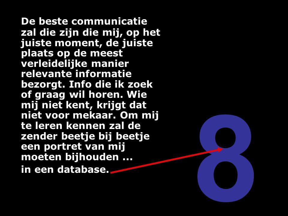De beste communicatie zal die zijn die mij, op het juiste moment, de juiste plaats op de meest verleidelijke manier relevante informatie bezorgt. Info