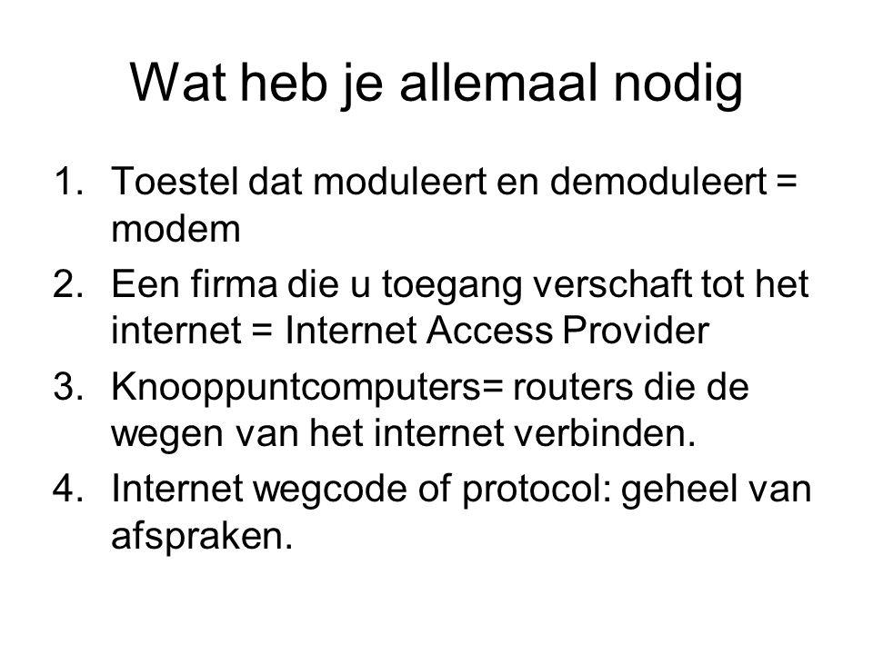 Wat heb je allemaal nodig 1.Toestel dat moduleert en demoduleert = modem 2.Een firma die u toegang verschaft tot het internet = Internet Access Provider 3.Knooppuntcomputers= routers die de wegen van het internet verbinden.