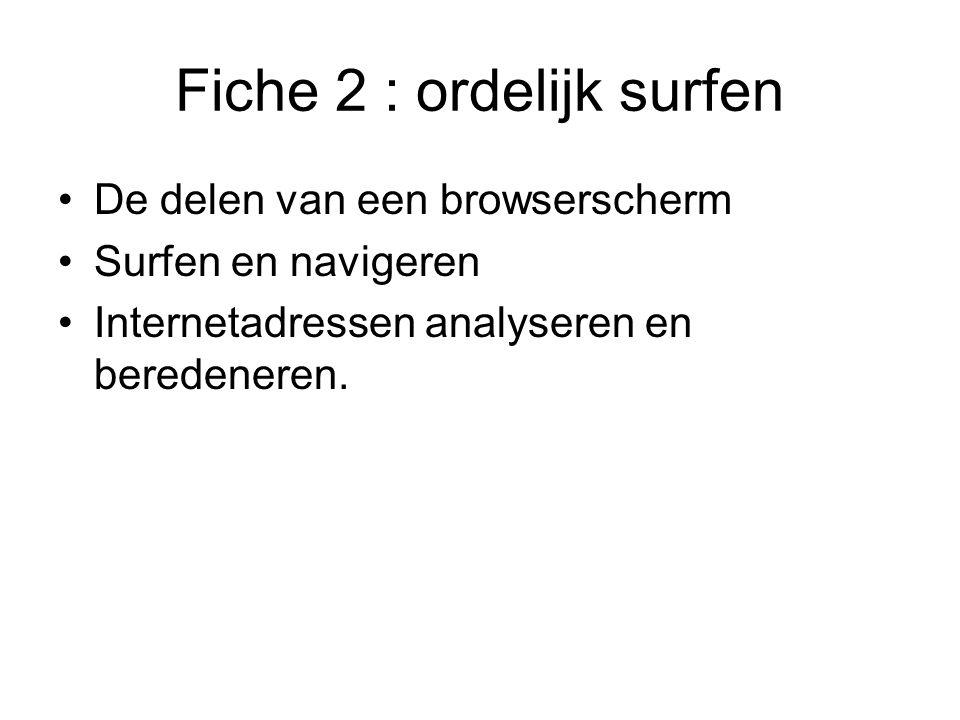 Fiche 2 : ordelijk surfen •De delen van een browserscherm •Surfen en navigeren •Internetadressen analyseren en beredeneren.