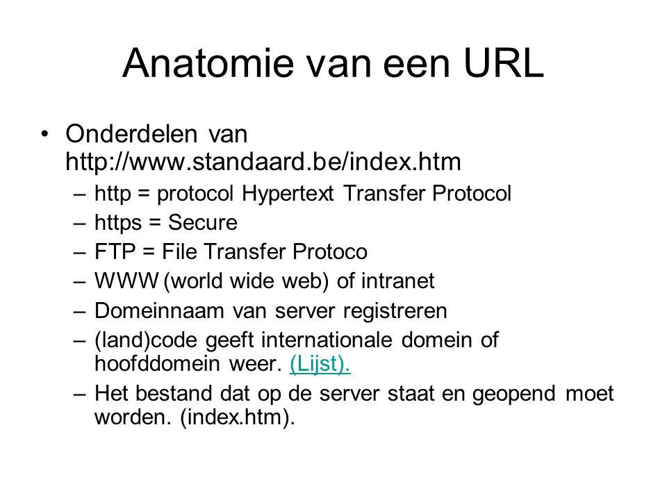 Anatomie van een URL •Onderdelen van http://www.standaard.be/index.htm –http = protocol Hypertext Transfer Protocol –https = Secure –FTP = File Transfer Protoco –WWW (world wide web) of intranet –Domeinnaam van server registreren –(land)code geeft internationale domein of hoofddomein weer.