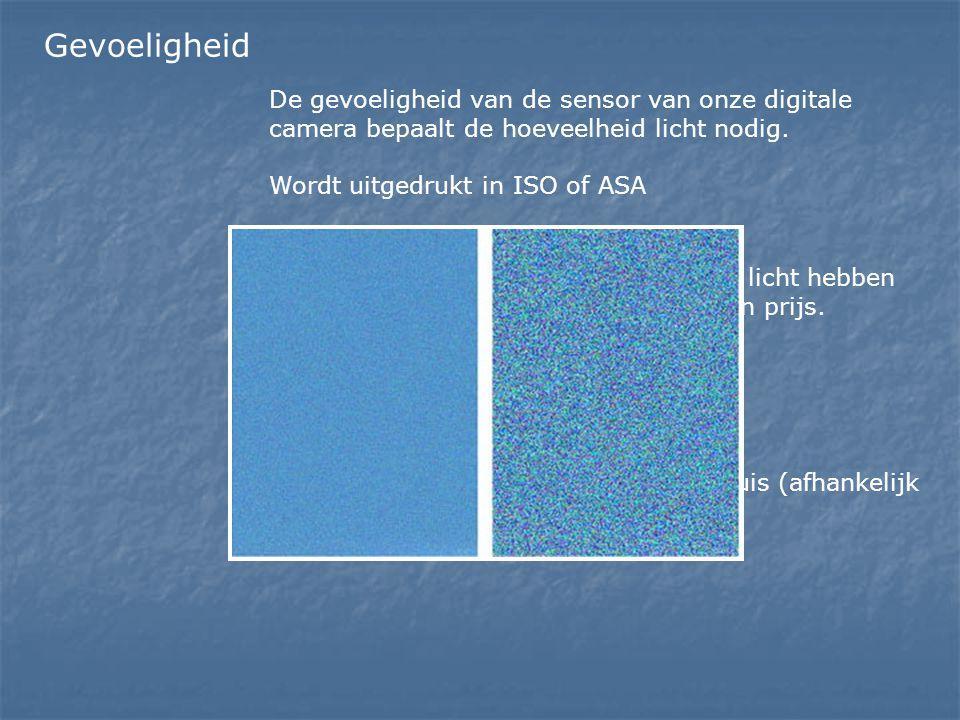 Gevoeligheid De gevoeligheid van de sensor van onze digitale camera bepaalt de hoeveelheid licht nodig. Wordt uitgedrukt in ISO of ASA Hoe groter de g
