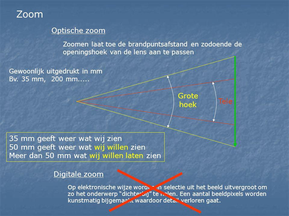 Zoom Zoomen laat toe de brandpuntsafstand en zodoende de openingshoek van de lens aan te passen Optische zoom Gewoonlijk uitgedrukt in mm Bv. 35 mm, 2