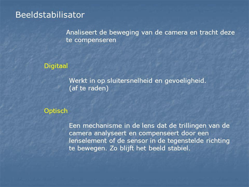 Beeldstabilisator Digitaal Werkt in op sluitersnelheid en gevoeligheid. (af te raden) Optisch Een mechanisme in de lens dat de trillingen van de camer