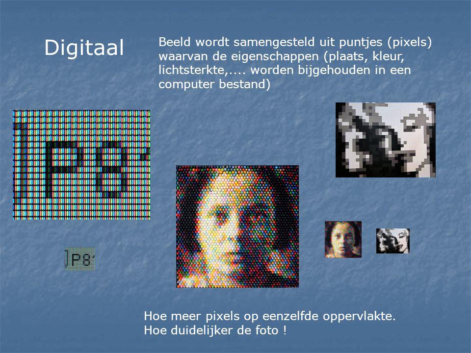 Digitaal Beeld wordt samengesteld uit puntjes (pixels) waarvan de eigenschappen (plaats, kleur, lichtsterkte,.... worden bijgehouden in een computer b