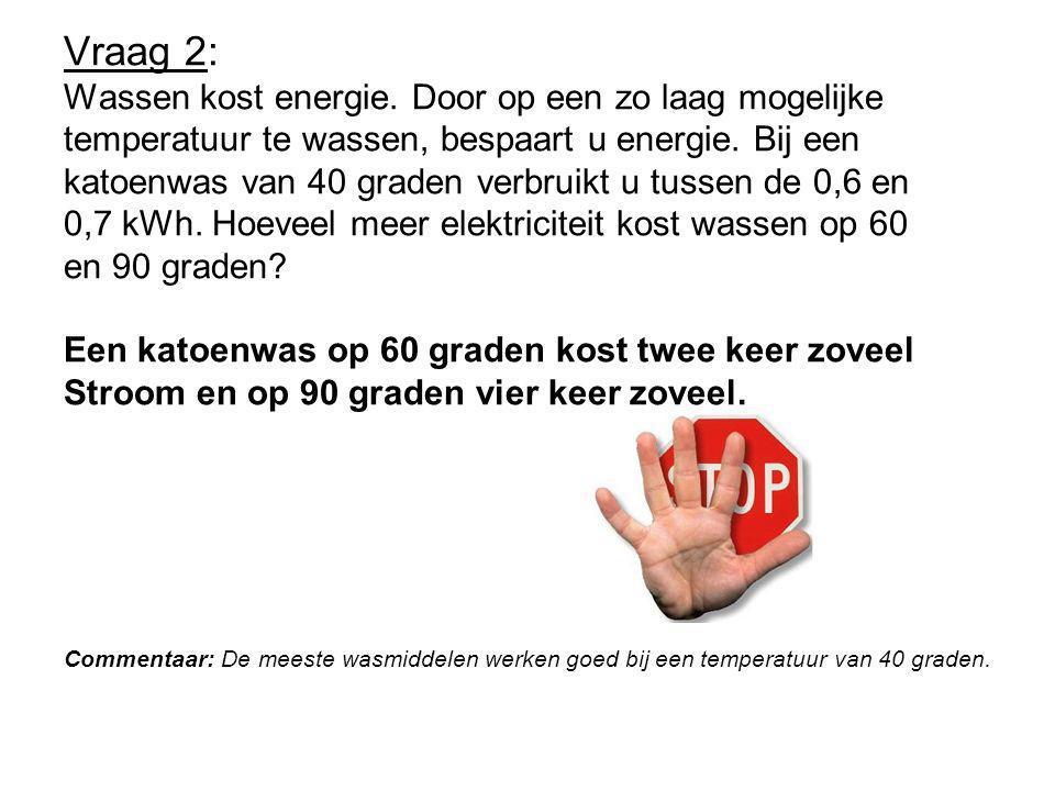 Vraag 2: Wassen kost energie.