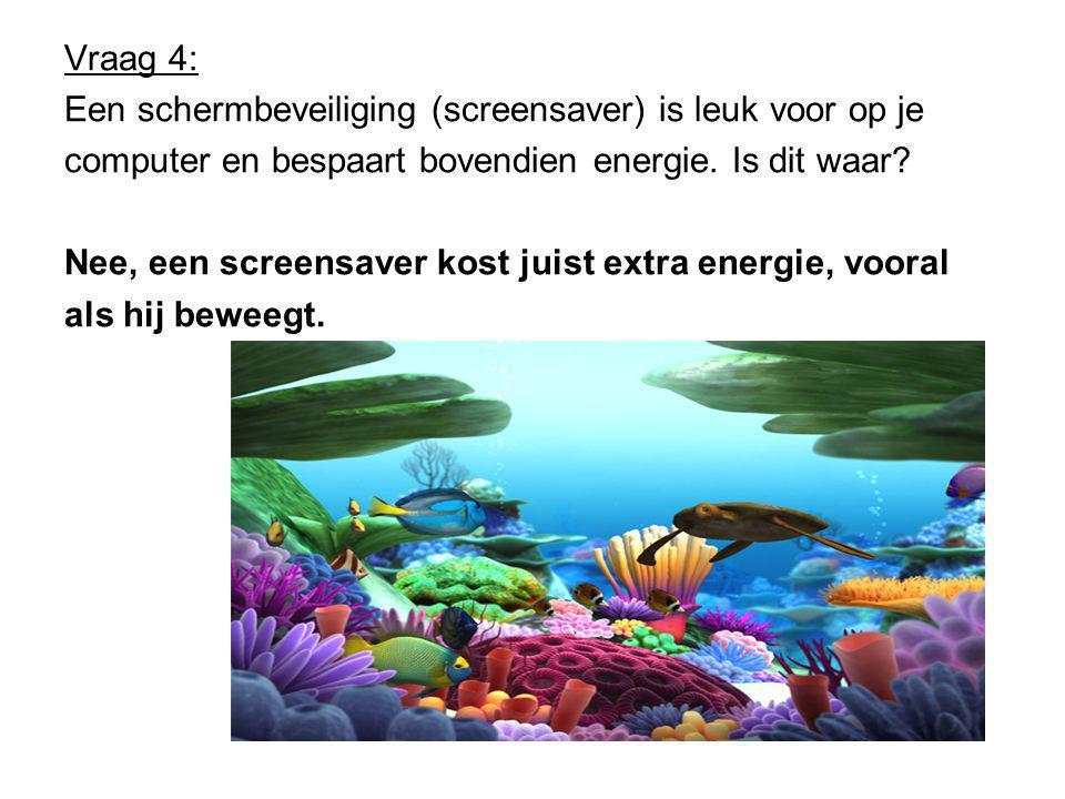 Vraag 4: Een schermbeveiliging (screensaver) is leuk voor op je computer en bespaart bovendien energie.