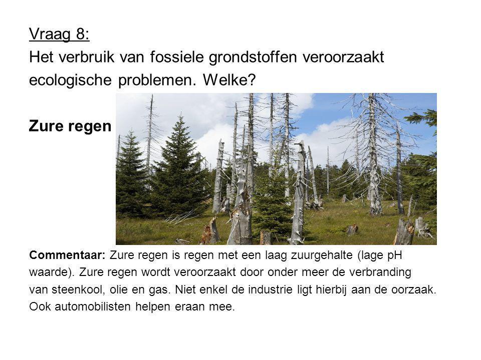 Vraag 8: Het verbruik van fossiele grondstoffen veroorzaakt ecologische problemen.