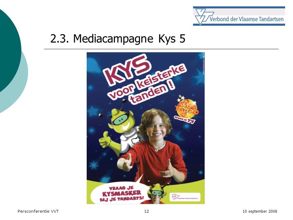 10 september 2008 Persconferentie VVT12 2.3. Mediacampagne Kys 5