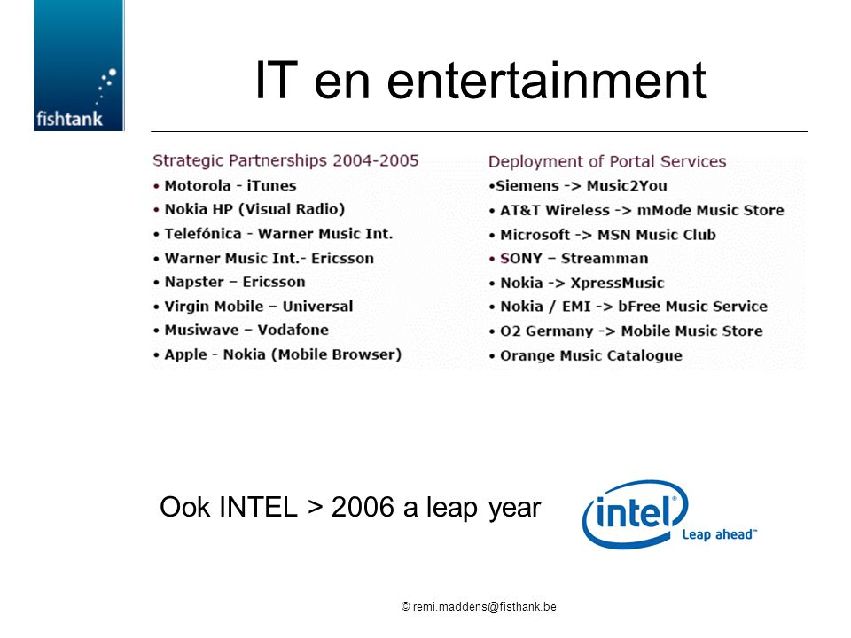 © remi.maddens@fisthank.be IT en entertainment Ook INTEL > 2006 a leap year