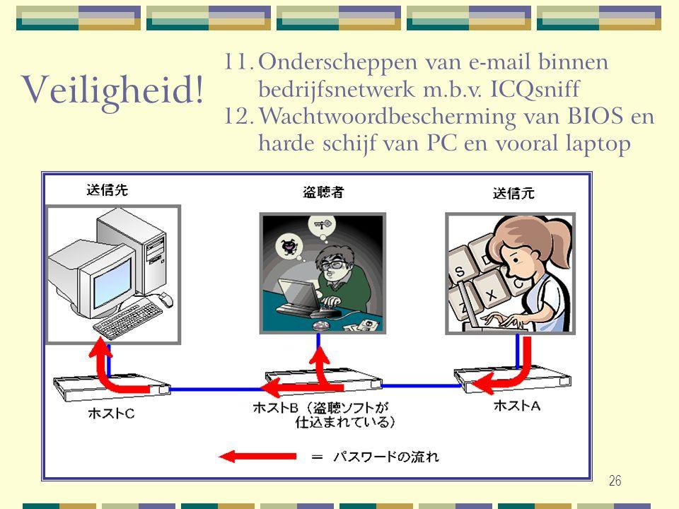 26 11.Onderscheppen van e-mail binnen bedrijfsnetwerk m.b.v. ICQsniff 12.Wachtwoordbescherming van BIOS en harde schijf van PC en vooral laptop Veilig