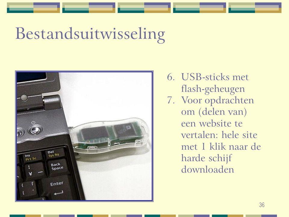 36 Bestandsuitwisseling 6.USB-sticks met flash-geheugen 7.Voor opdrachten om (delen van) een website te vertalen: hele site met 1 klik naar de harde s