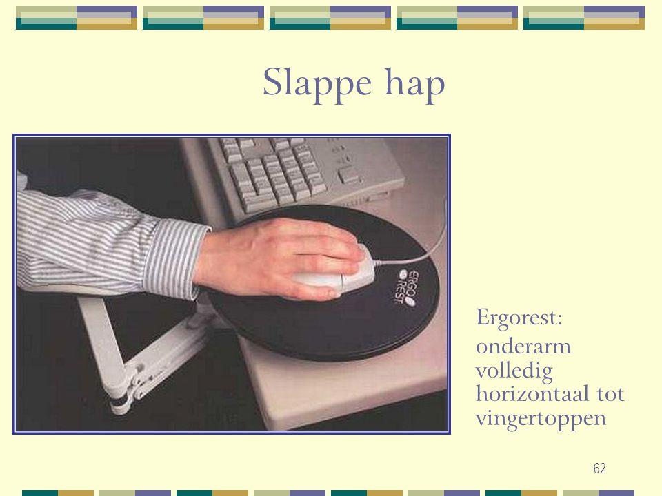 62 Slappe hap Ergorest: onderarm volledig horizontaal tot vingertoppen