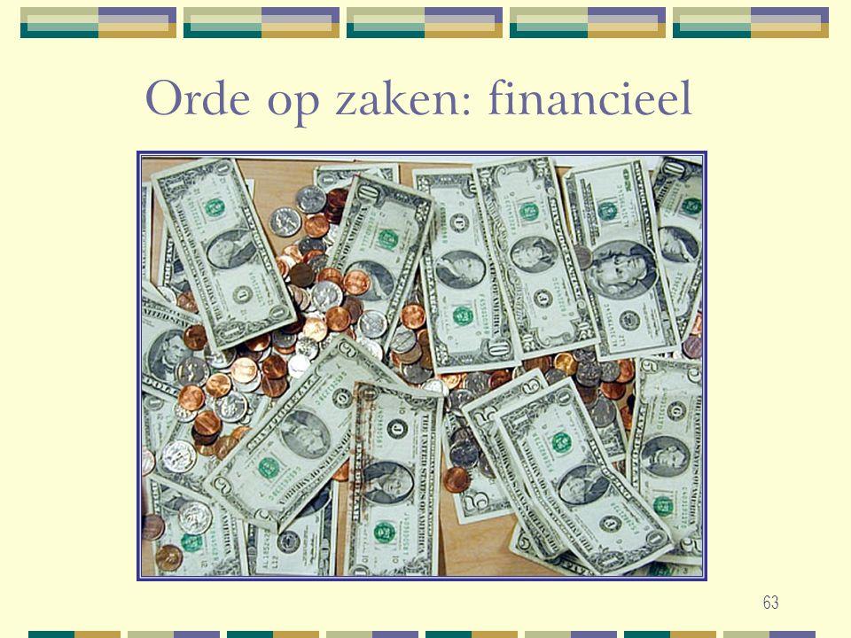63 Orde op zaken: financieel