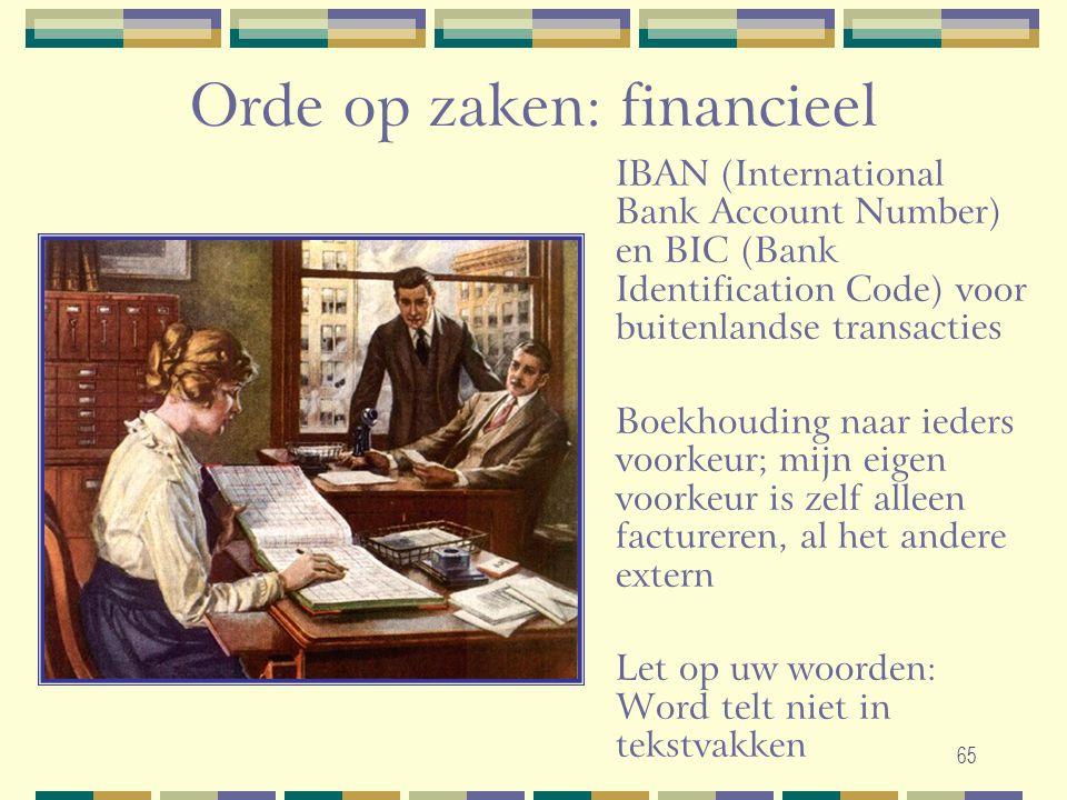 65 Orde op zaken: financieel IBAN (International Bank Account Number) en BIC (Bank Identification Code) voor buitenlandse transacties Boekhouding naar