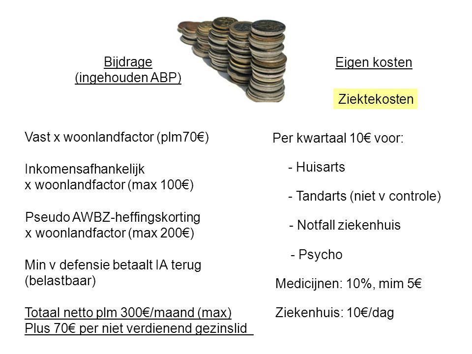Vast x woonlandfactor (plm70€) Inkomensafhankelijk x woonlandfactor (max 100€) Pseudo AWBZ-heffingskorting x woonlandfactor (max 200€) Min v defensie betaalt IA terug (belastbaar) Per kwartaal 10€ voor: - Huisarts - Tandarts (niet v controle) - Notfall ziekenhuis - Psycho Medicijnen: 10%, mim 5€ Ziekenhuis: 10€/dag Totaal netto plm 300€/maand (max) Plus 70€ per niet verdienend gezinslid Bijdrage (ingehouden ABP) Eigen kosten Ziektekosten