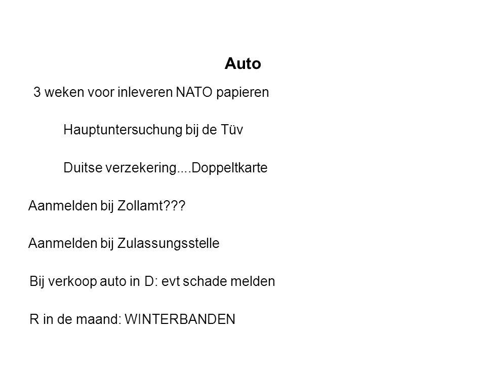 Auto 3 weken voor inleveren NATO papieren Hauptuntersuchung bij de Tüv Duitse verzekering....Doppeltkarte Aanmelden bij Zollamt??.
