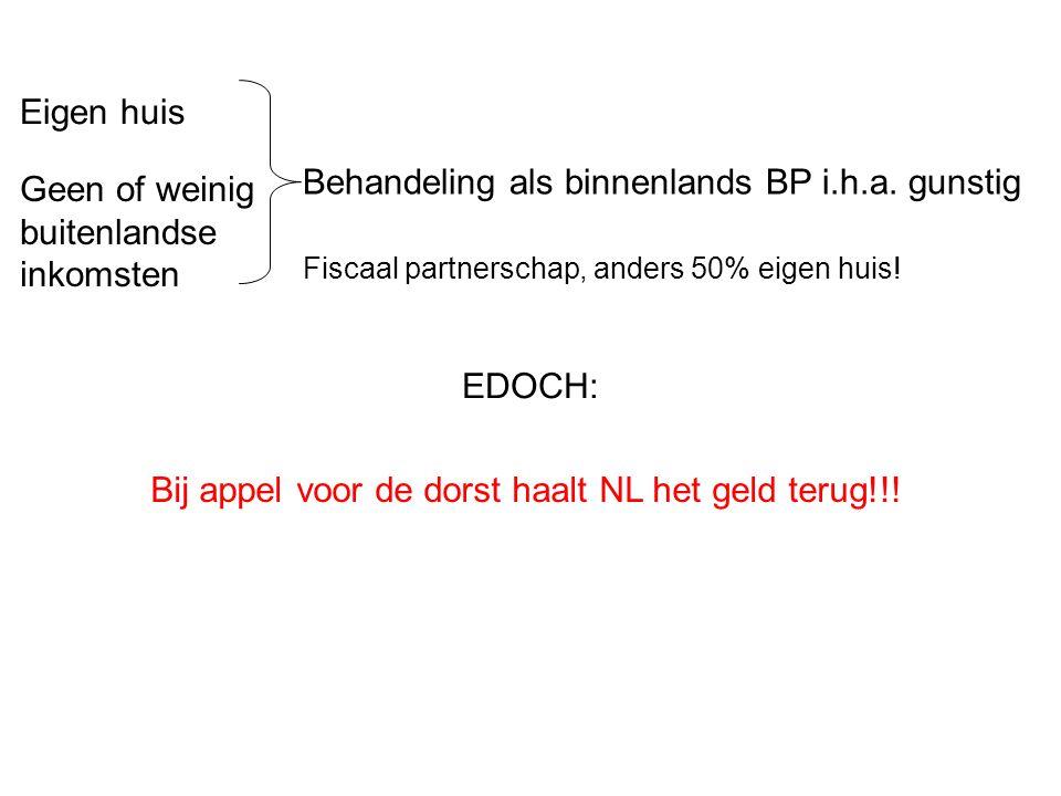 EDOCH: Bij appel voor de dorst haalt NL het geld terug!!.