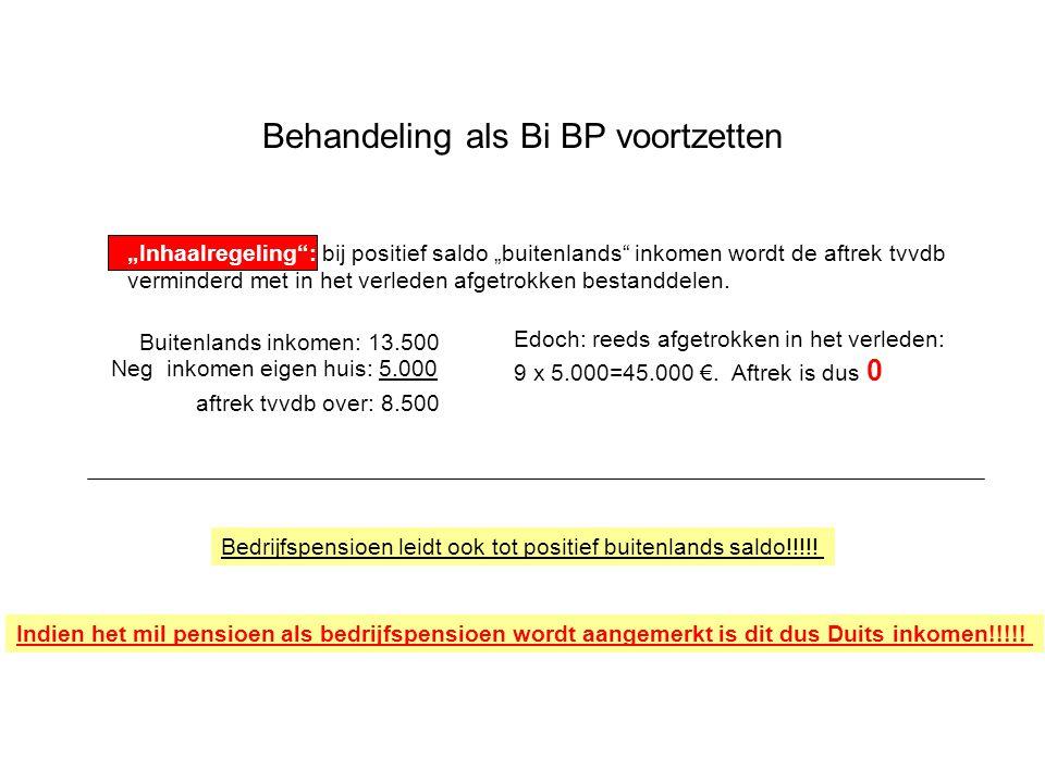 """Behandeling als Bi BP voortzetten """"Inhaalregeling : bij positief saldo """"buitenlands inkomen wordt de aftrek tvvdb verminderd met in het verleden afgetrokken bestanddelen."""