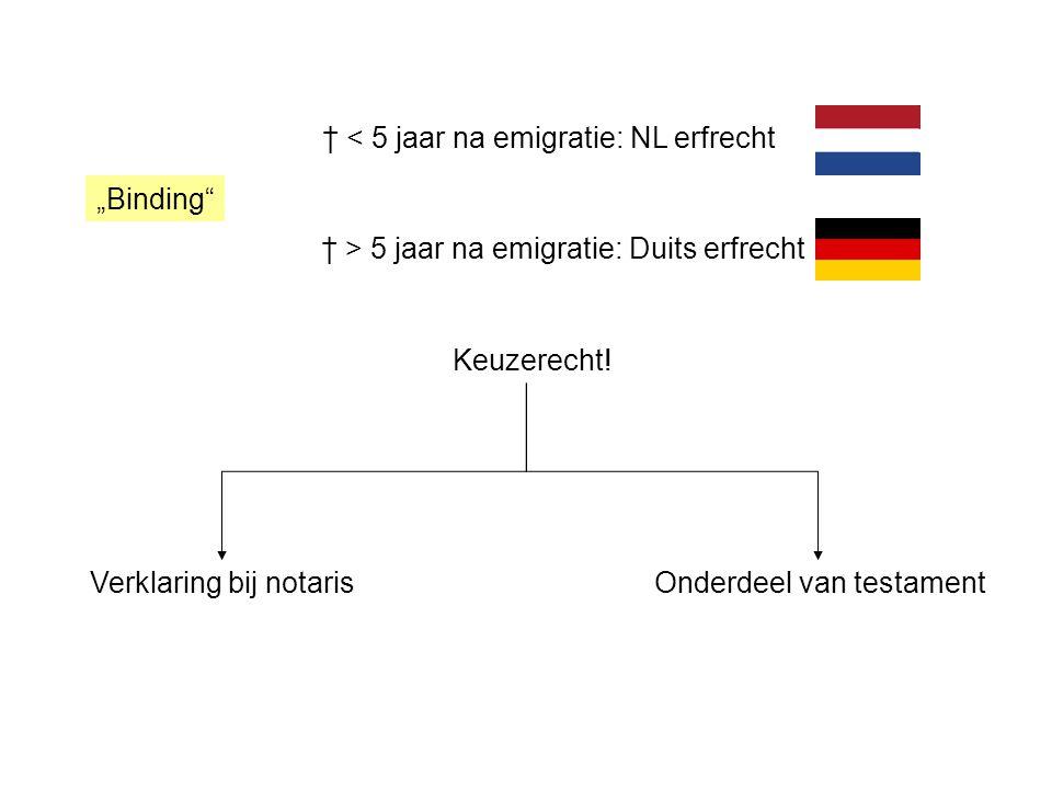 † < 5 jaar na emigratie: NL erfrecht † > 5 jaar na emigratie: Duits erfrecht Keuzerecht.