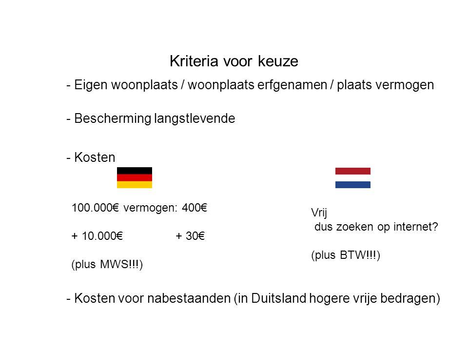 Kriteria voor keuze - Eigen woonplaats / woonplaats erfgenamen / plaats vermogen - Bescherming langstlevende - Kosten 100.000€ vermogen: 400€ + 10.000€ + 30€ (plus MWS!!!) Vrij dus zoeken op internet.