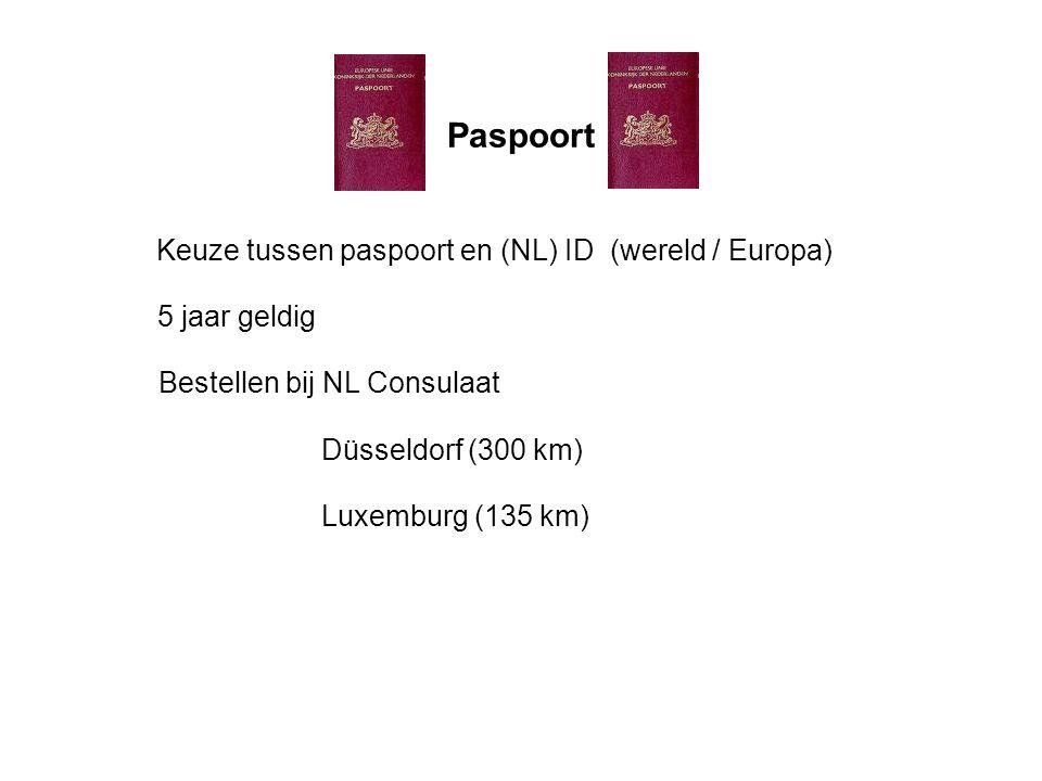 Paspoort Keuze tussen paspoort en (NL) ID (wereld / Europa) Bestellen bij NL Consulaat 5 jaar geldig Düsseldorf (300 km) Luxemburg (135 km)