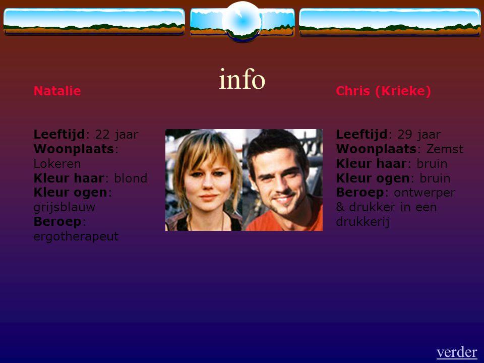 info Chris (Krieke) Leeftijd: 29 jaar Woonplaats: Zemst Kleur haar: bruin Kleur ogen: bruin Beroep: ontwerper & drukker in een drukkerij Natalie Leeft