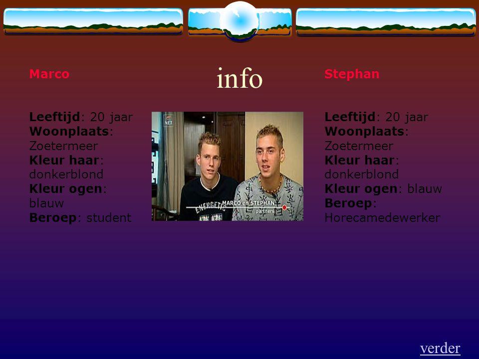 Stephan Leeftijd: 20 jaar Woonplaats: Zoetermeer Kleur haar: donkerblond Kleur ogen: blauw Beroep: Horecamedewerker Marco Leeftijd: 20 jaar Woonplaats