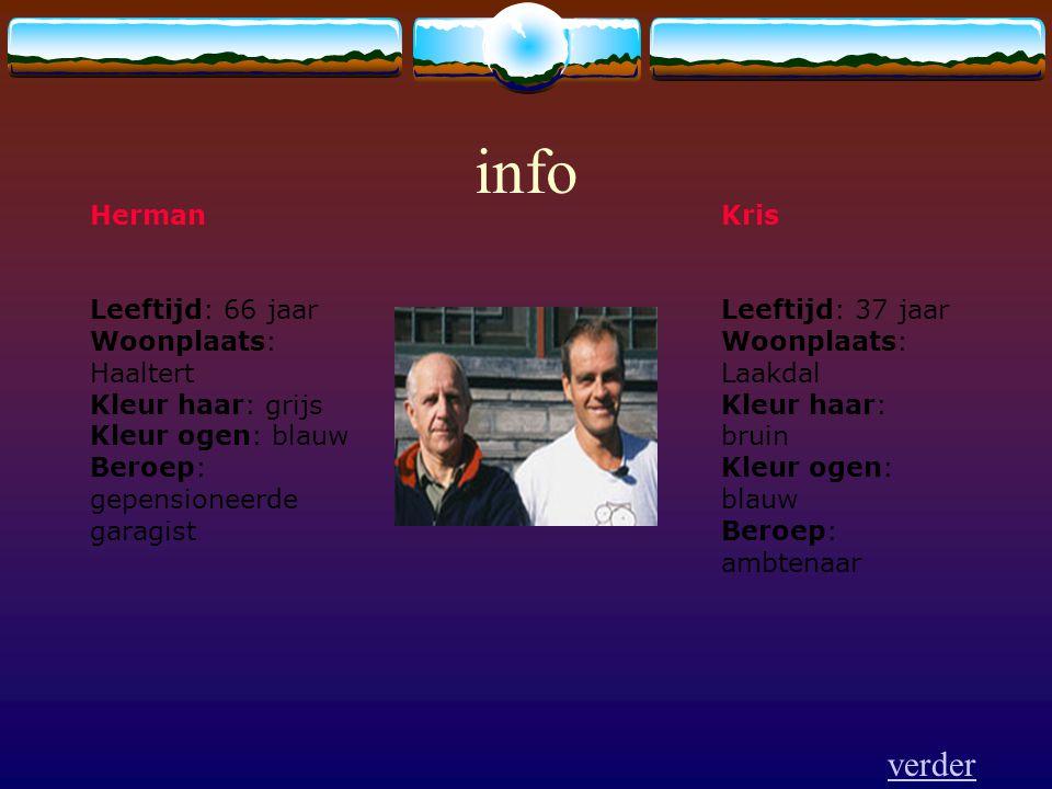 info Herman Leeftijd: 66 jaar Woonplaats: Haaltert Kleur haar: grijs Kleur ogen: blauw Beroep: gepensioneerde garagist Kris Leeftijd: 37 jaar Woonplaa