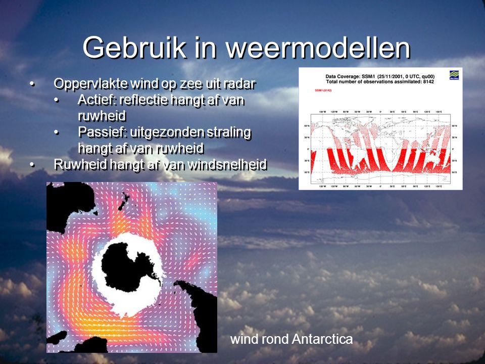 Gebruik in weermodellen •Verplaatsing van wolken geeft ook wind-informatie •Maar wolken ontwikkelen zich ook .