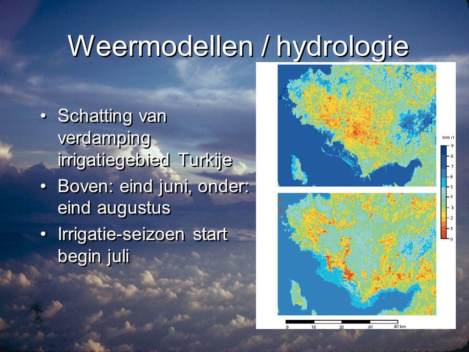 Klimaat •Aanvullen van schaarse metingen aan de grond en in de atmosfeer •Trends •Ruimtelijke verschillen •Kijken naar: –Toestand atmosfeer –Toestand aardoppervlak •Aanvullen van schaarse metingen aan de grond en in de atmosfeer •Trends •Ruimtelijke verschillen •Kijken naar: –Toestand atmosfeer –Toestand aardoppervlak