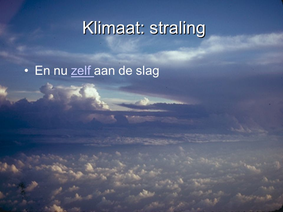 Klimaat: ozon •Ozon concentratie in stratosfeer •Najaar 2001 •Ozon-gaat zuidpool •Ozon concentratie in stratosfeer •Najaar 2001 •Ozon-gaat zuidpool