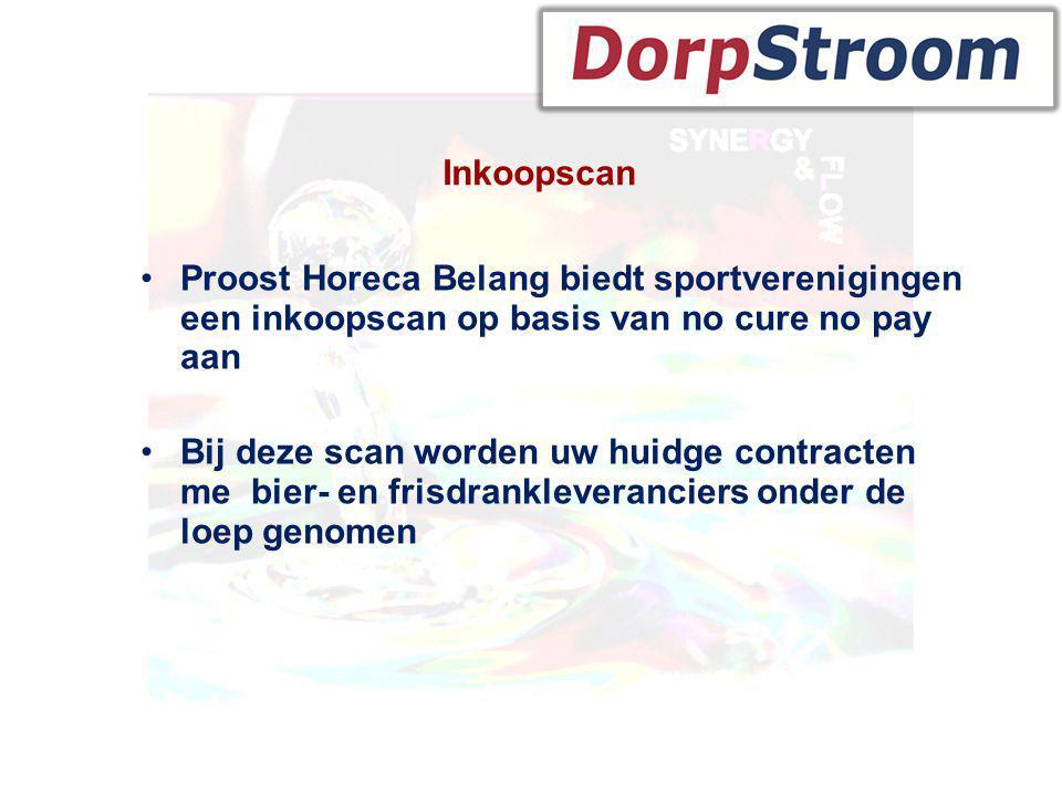 Inkoopscan •Proost Horeca Belang biedt sportverenigingen een inkoopscan op basis van no cure no pay aan •Bij deze scan worden uw huidge contracten me