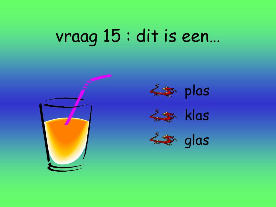 vraag 15 : dit is een… plas klas glas
