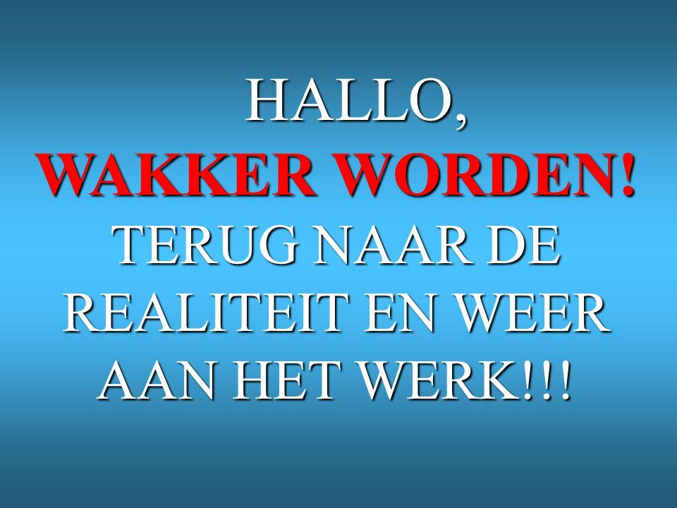 HALLO, HALLO, WAKKER WORDEN! TERUG NAAR DE REALITEIT EN WEER AAN HET WERK!!!