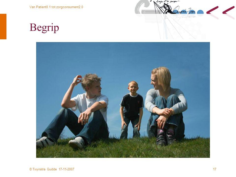 © Twynstra Gudde 17-11-2007 Van Patient0.1 tot zorgconsument2.0 17 Begrip