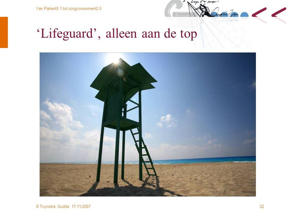 © Twynstra Gudde 17-11-2007 Van Patient0.1 tot zorgconsument2.0 22 'Lifeguard', alleen aan de top