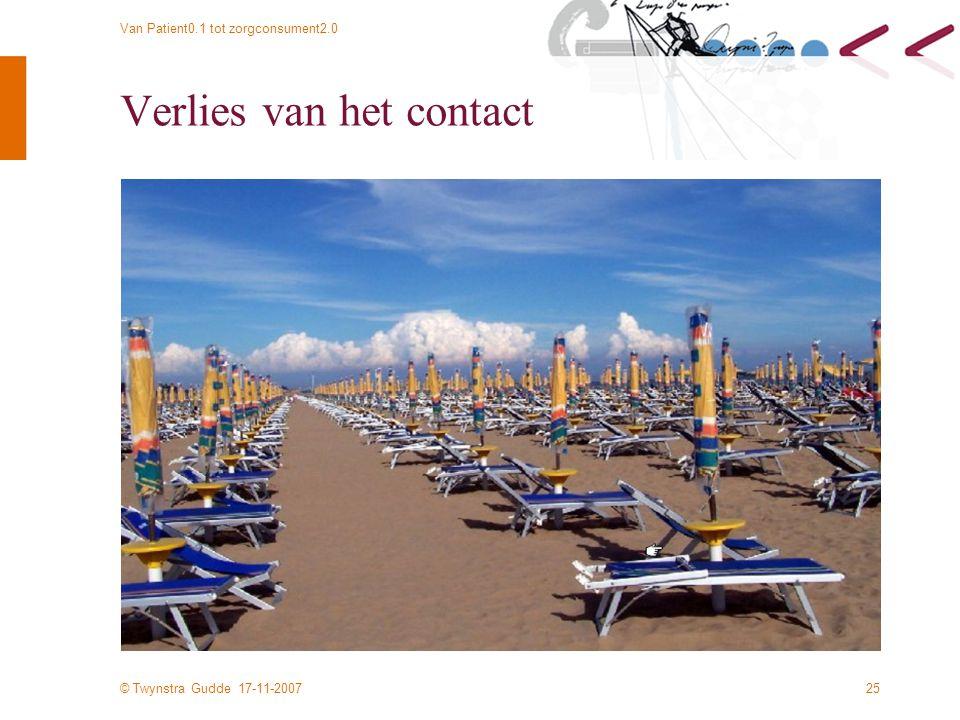 © Twynstra Gudde 17-11-2007 Van Patient0.1 tot zorgconsument2.0 25 Verlies van het contact