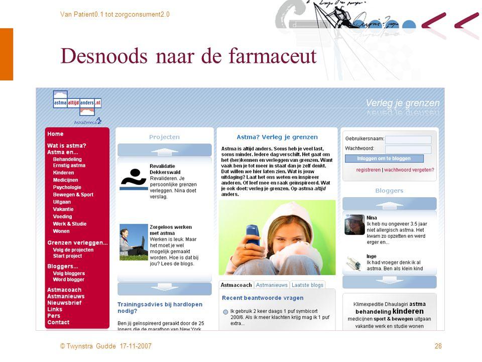 © Twynstra Gudde 17-11-2007 Van Patient0.1 tot zorgconsument2.0 28 Desnoods naar de farmaceut
