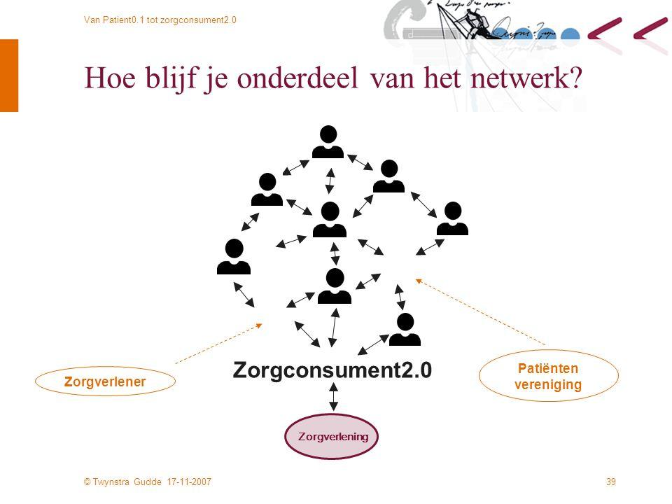 © Twynstra Gudde 17-11-2007 Van Patient0.1 tot zorgconsument2.0 39 Hoe blijf je onderdeel van het netwerk.