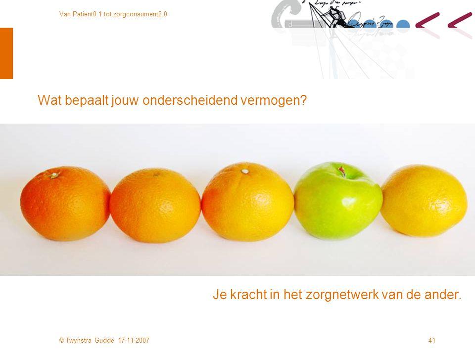 © Twynstra Gudde 17-11-2007 Van Patient0.1 tot zorgconsument2.0 41 Wat bepaalt jouw onderscheidend vermogen.