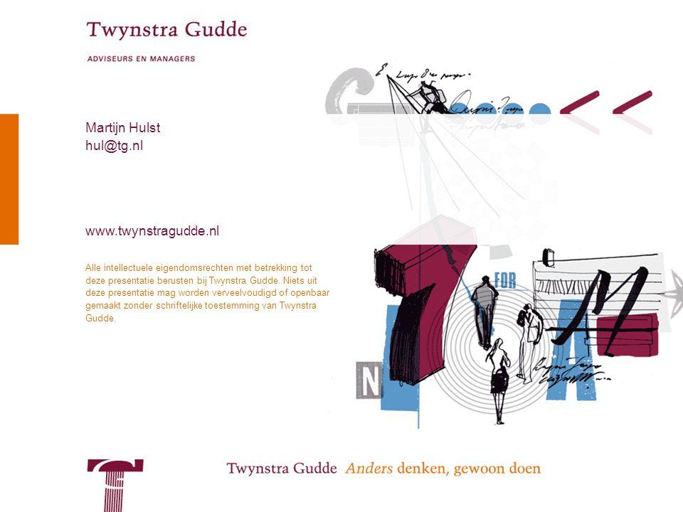 © Twynstra Gudde 17-11-2007 Van Patient0.1 tot zorgconsument2.0 44 Alle intellectuele eigendomsrechten met betrekking tot deze presentatie berusten bij Twynstra Gudde.
