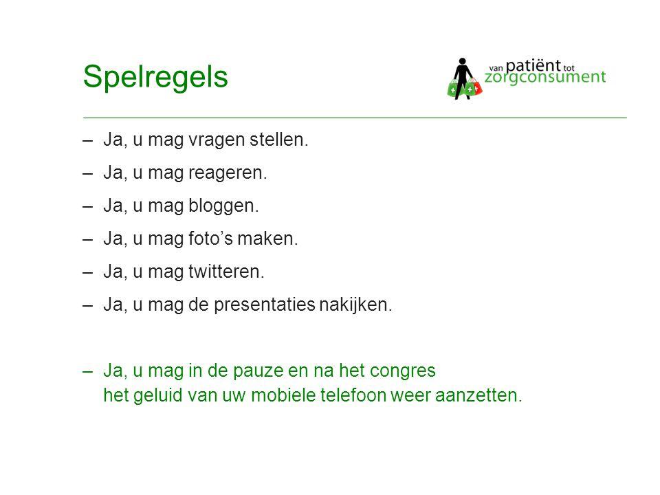 © Twynstra Gudde 17-11-2007 Van Patient0.1 tot zorgconsument2.0 6 Spelregels –Ja, u mag vragen stellen.